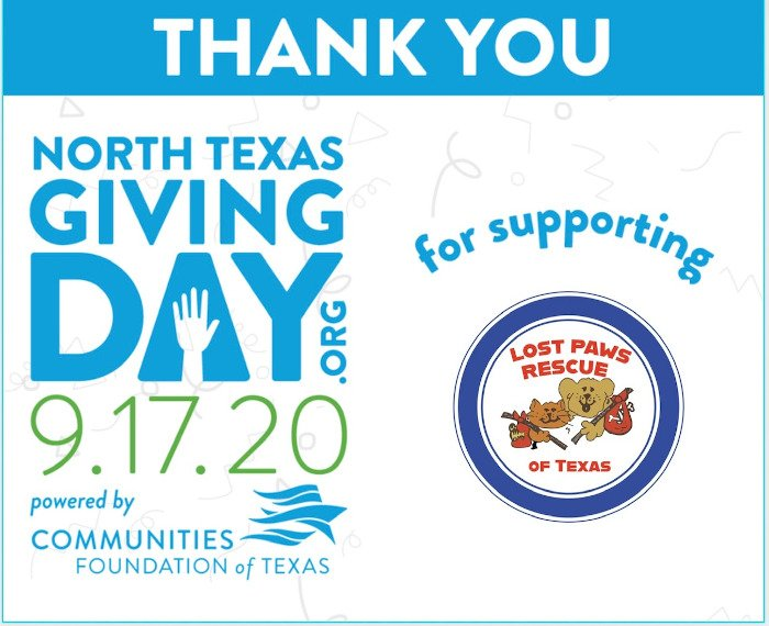 Lost Paws Rescue of Texas - Thanks for Donations on North Texas Giving Day 2020